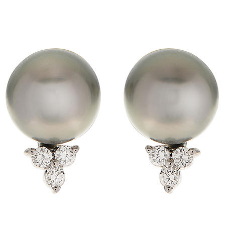 0.19 CT. T.W. Diamond & Tahitian Pearl Earrings