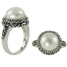 White Cultured Freshwater Button-Shaped Pearl Ring in Sterling Silver