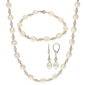 Cultured Freshwater Pearl and Diamond Cut Bead 3 Piece Set