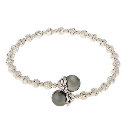 Black Tahitian Pearl Cuff Bracelet in Sterling SIlver