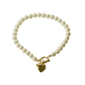 Freshwater Pearl & 14K Yellow Gold Heart Bracelet
