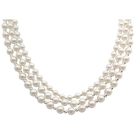 """18"""" Freshwater Pearl and Sterling Silver Diamond-cut Bead Necklace"""