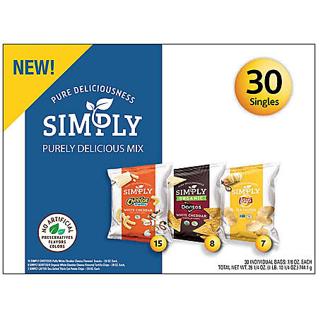 Frito-Lay Simply Chips and Snacks Purely Delicious Variety Pack Mix (30 pk.)