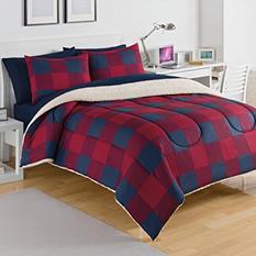IZOD Buffalo Plaid Red/Navy Comforter Set (Assorted Sizes)