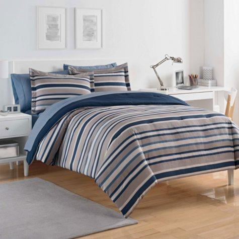 IZOD Bradley Stripe Bed-In-A-Bag, Grey/Blue
