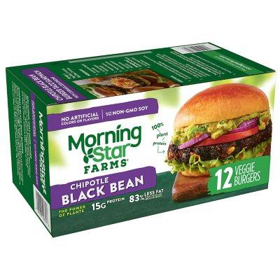 Morningstar Farms Chipotle Black Bean Burger 50 8 Oz 12 Ct Sam S Club