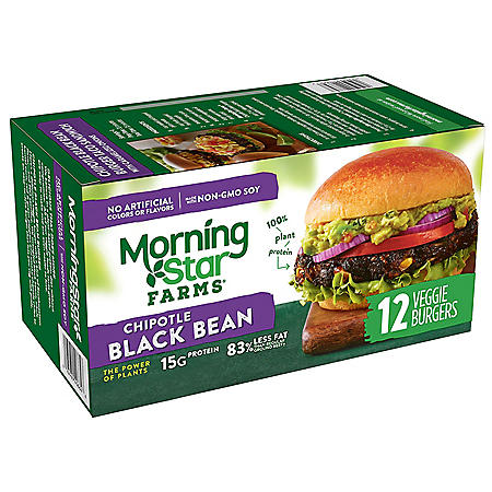 MorningStar Farms Chipotle Black Bean Burger (50.8 oz., 12 ct.)