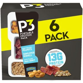 Planters P3 Honey Roasted Peanuts, Maple Glazed Ham Jerky & Sunflower Kernels Portable Protein Pack (1.8 oz. Tray, 6 ct.)