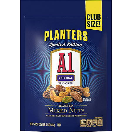 Planters A1 Sauce-Flavored Deluxe Roasted Mixed Nuts with Almonds, Cashews, Pecans and Pistachios (20 oz.)