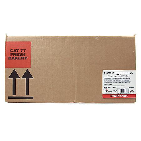 """5"""" White Uniced Cake Layers, Bulk Wholesale Case (48 ct.)"""