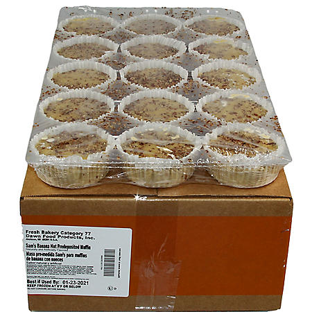 Banana Nut Pre-Topped Muffins, Bulk Wholesale Case (60 ct.)