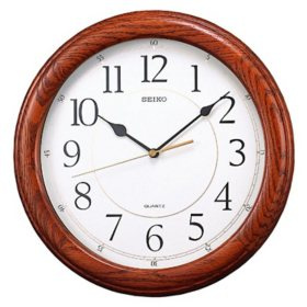 "Seiko 13"" Round Wooden Wall Clock"