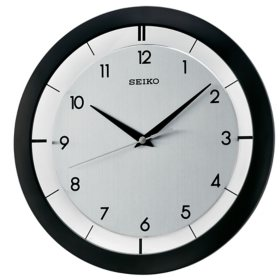 "Seiko 11"" Brushed Metal Wall Clock (Assorted Colors)"