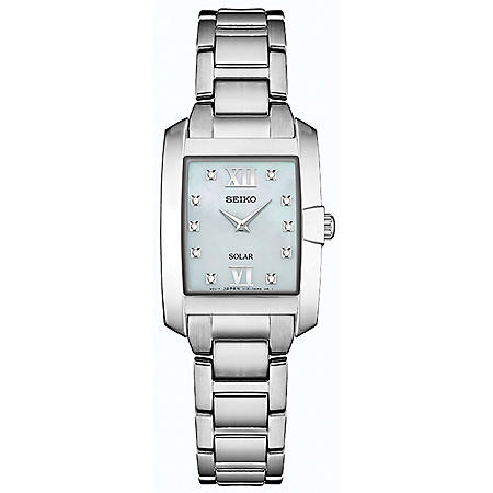 Seiko Women's Solar Silver Tone Watch with MOP Dial and 10 Diamonds