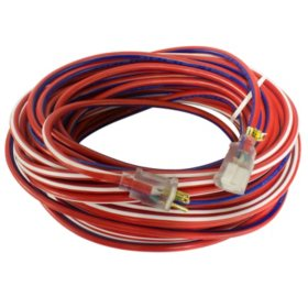 Yellow Jacket 100-ft. Red, White and Blue Outdoor Extension Cord w/ Lighted Ends