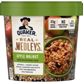 Quaker Real Medleys Instant Oatmeal Cups, Apple Walnut (2.64 oz., 12 ct.)