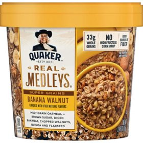 Quaker Real Medleys Instant Oatmeal Cups, Banana Walnut (2.46 oz., 12 ct.)