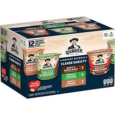 Quaker Instant Oatmeal Variety Pack (1.68 oz. cup, 12 ct.)