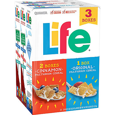 Quaker Life Multigrain Cereal Variety Pack (18 oz., 3 pk.)