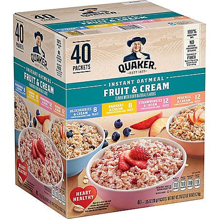 Quaker Instant Oatmeal Fruit & Cream, Variety Pack (40 pk.)