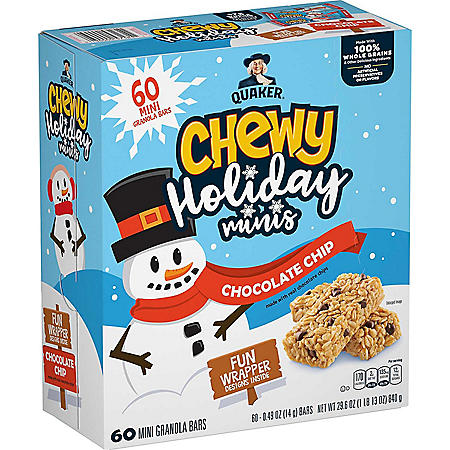 Quaker Chewy Granola Bars Holiday Minis, Chocolate Chip (60 pk.)