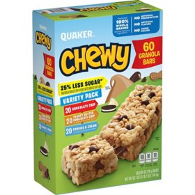 Quaker Chewy Granola Bars Reduced Sugar, Variety Pack (60 pk.)