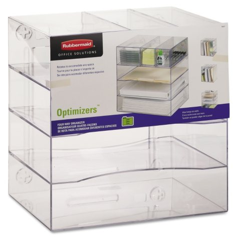 """Rubbermaid - Optimizers 4-Way Organizer with Drawers, Plastic, 13 1/4"""" x 13 1/4"""" x 10"""" - Clear"""