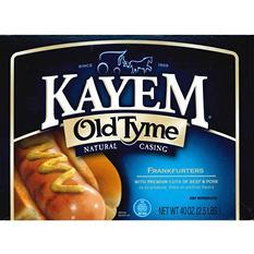 Kayem Old Tyme Natural Casing Frankfurters - 2.5 lbs.