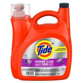Tide Hygienic Clean Heavy 10x Duty Liquid Laundry Detergent, Spring Meadow (110 loads, 150 fl. oz.)