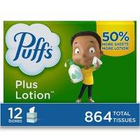 Puffs Plus Lotion Facial Tissues (72 tissues/cube, 12 mega cubes)