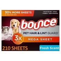 Bounce Pet Hair and Lint Guard Mega Dryer Sheets with 3X Pet Hair Fighters, Fresh Scent (210 sheets)