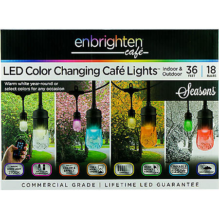 Enbrighten Seasons LED Color-Changing Café Lights, 36ft. 18 Bulbs