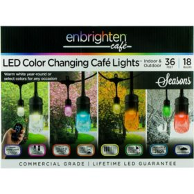 Enbrighten Seasons LED Color-Changing Café Lights, 36ft. 18 Bulbs
