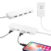 Philips USB Extension Cord Power Strip Charging Station, 4 USB-A Ports 2 Pack, 6 ft. Braided Cord