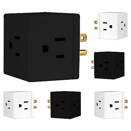 Philips 3-Outlet Grounded Cube Tap 6 Pack, Choose Color