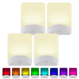 GE Color-Changing LED Night Light, White Base (4-pack)