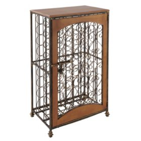 Wine Enthusiast 48-Bottle Antiqued Steel & Wood Accent Wine Rack