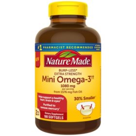 Nature Made Burp-Less Extra Strength 1080mg Mini Omega 3 Fish Oil (180 ct.)
