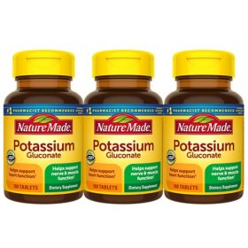 Nature Made Potassium Gluconate 550mg Tablets (100 ct., 3 pk.)