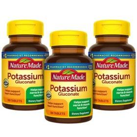 Nature Made Potassium Gluconate 550mg Tablets (100 ct., 3 pk.)