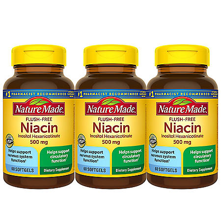 Nature Made Flush-Free Niacin 500mg Softgels (60 ct., 3 pk.)
