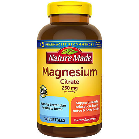 Nature Made Magnesium Citrate 250 mg Softgels (180 ct.)