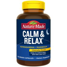 Nature Made Calm & Relax with 300mg Magnesium and 125mg Ashwagandha for Stress Relief (150 ct.)
