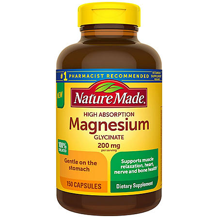 Nature Made Magnesium Glycinate 200 mg Capsules,  for Muscle Relaxation† (150 ct.)