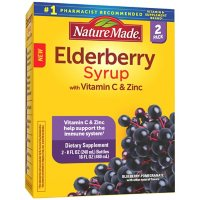 Nature Made Black Elderberry Syrup with Zinc and Vitamin C, for Immune Support Help, Blueberry Pomegranate Flavor, (8 fl., oz. 2 pk)