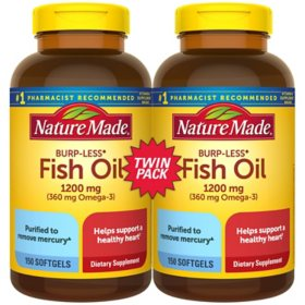 Nature Made Burp-Less Fish Oil 1,200mg Softgels for Heart Health† (150 ct., 2 pk.)