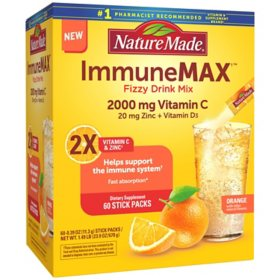 Nature Made ImmuneMAX Fizzy Drink Mix, with Vitamin C, Vitamin D and Zinc Supplement for Immune Support (60 ct.)