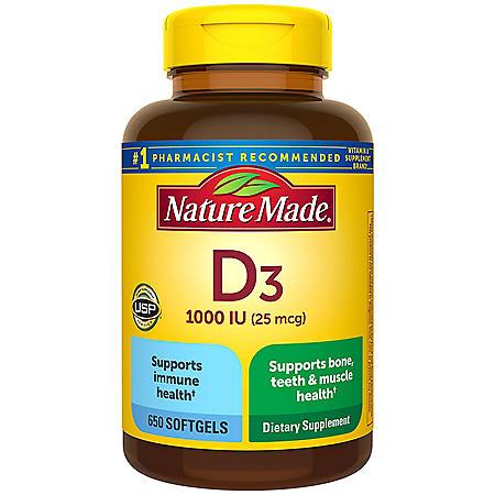 Nature Made Vitamin D3 25 mcg (1,000 IU) Softgels (650 ct.)