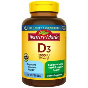 Nature Made Vitamin D3 25 mcg (1,000 IU) Softgels (650 ct.)