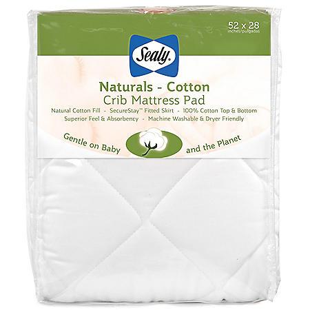 "Sealy Baby Naturals Cotton Crib and Toddler Mattress Pad (52"" x 28"")"